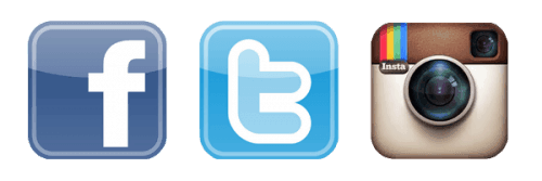Social media icons: Facebook, Twitter, and Instagram
