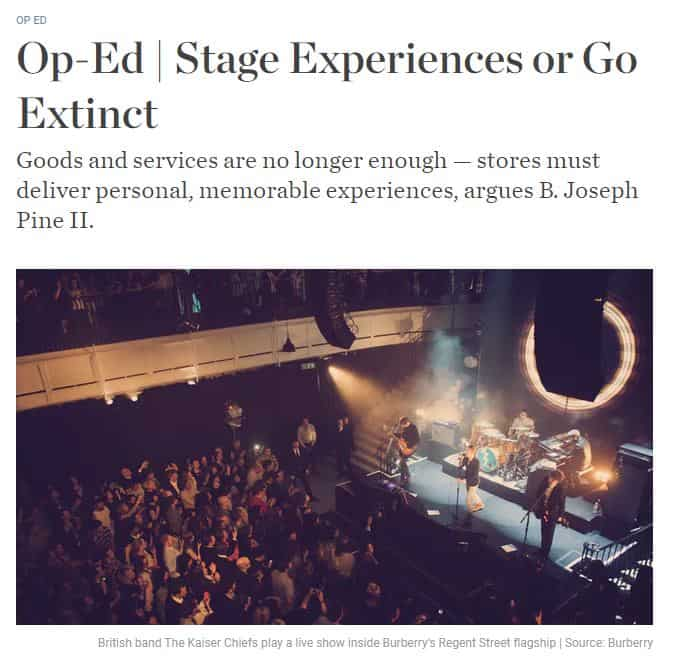 Stage Experiences or Go Extinct